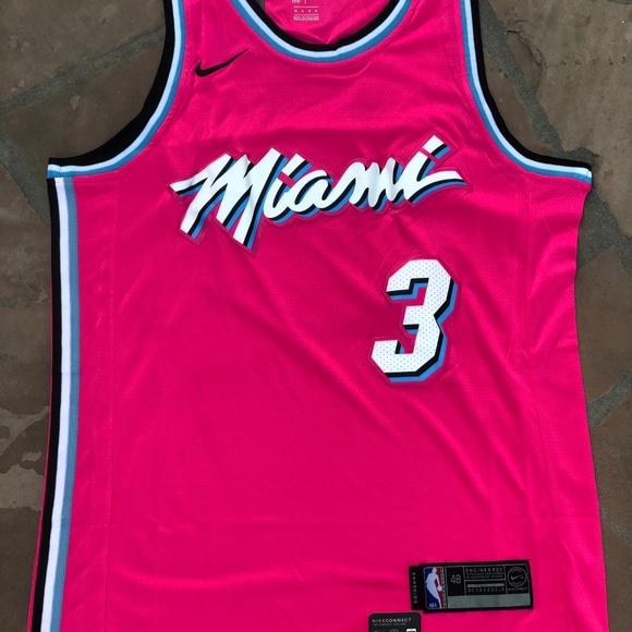 official photos 9d4ff c5fc4 Dwyane Wade #3 Miami Heats Earn Pink Jersey Boutique